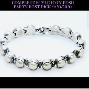HP💕Acleoni Mabe Pearl Sterling .925 Link Bracelet